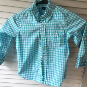 GAP turquoise gingham toddler button down. Size 4.